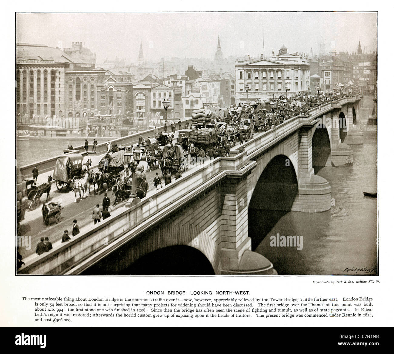 London Bridge, Looking North-West, 1897 Victorian photograph of the stream of traffic crossing over the River Thames - Stock Image