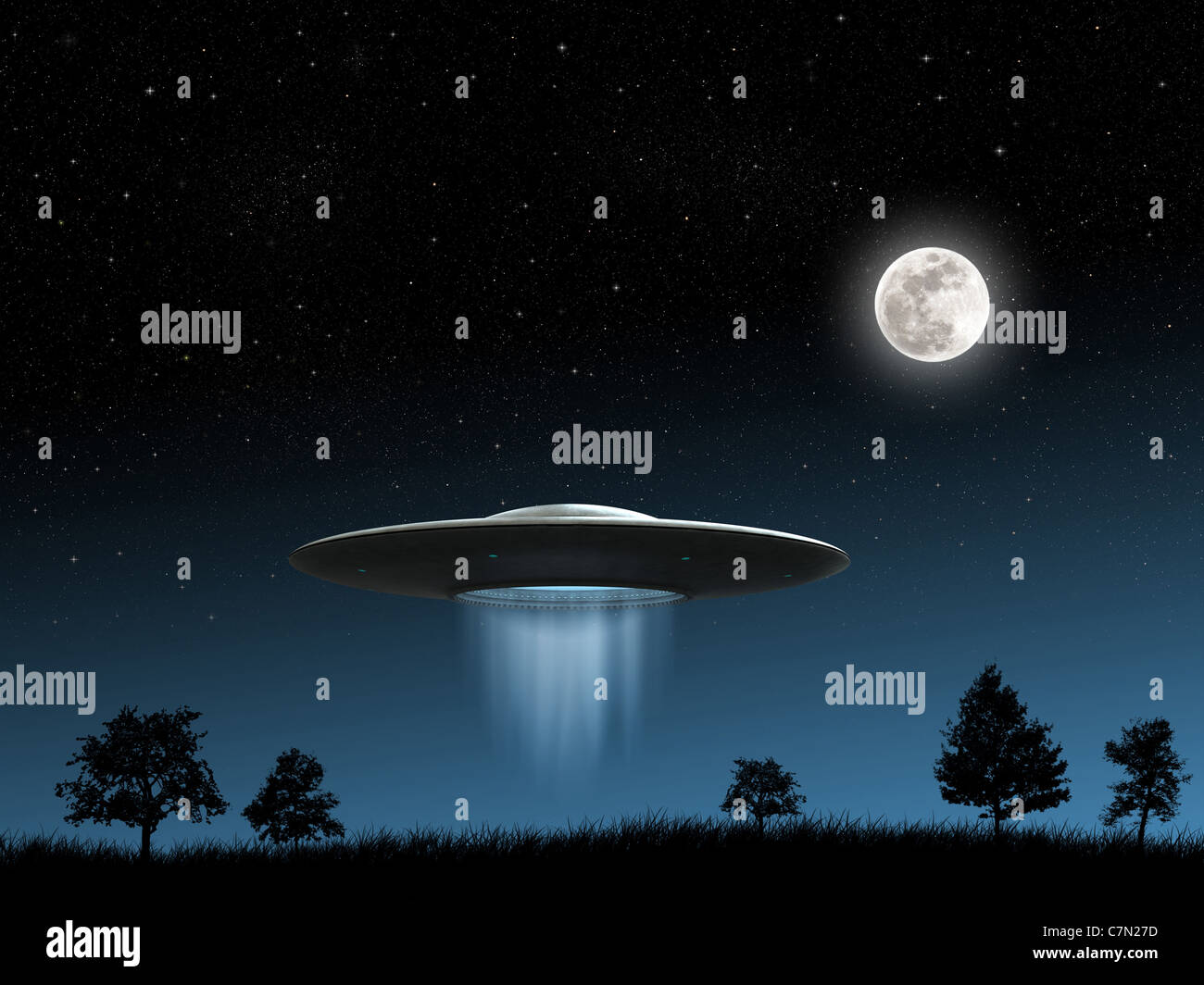 3d render of flying saucers ufo on night background - Stock Image