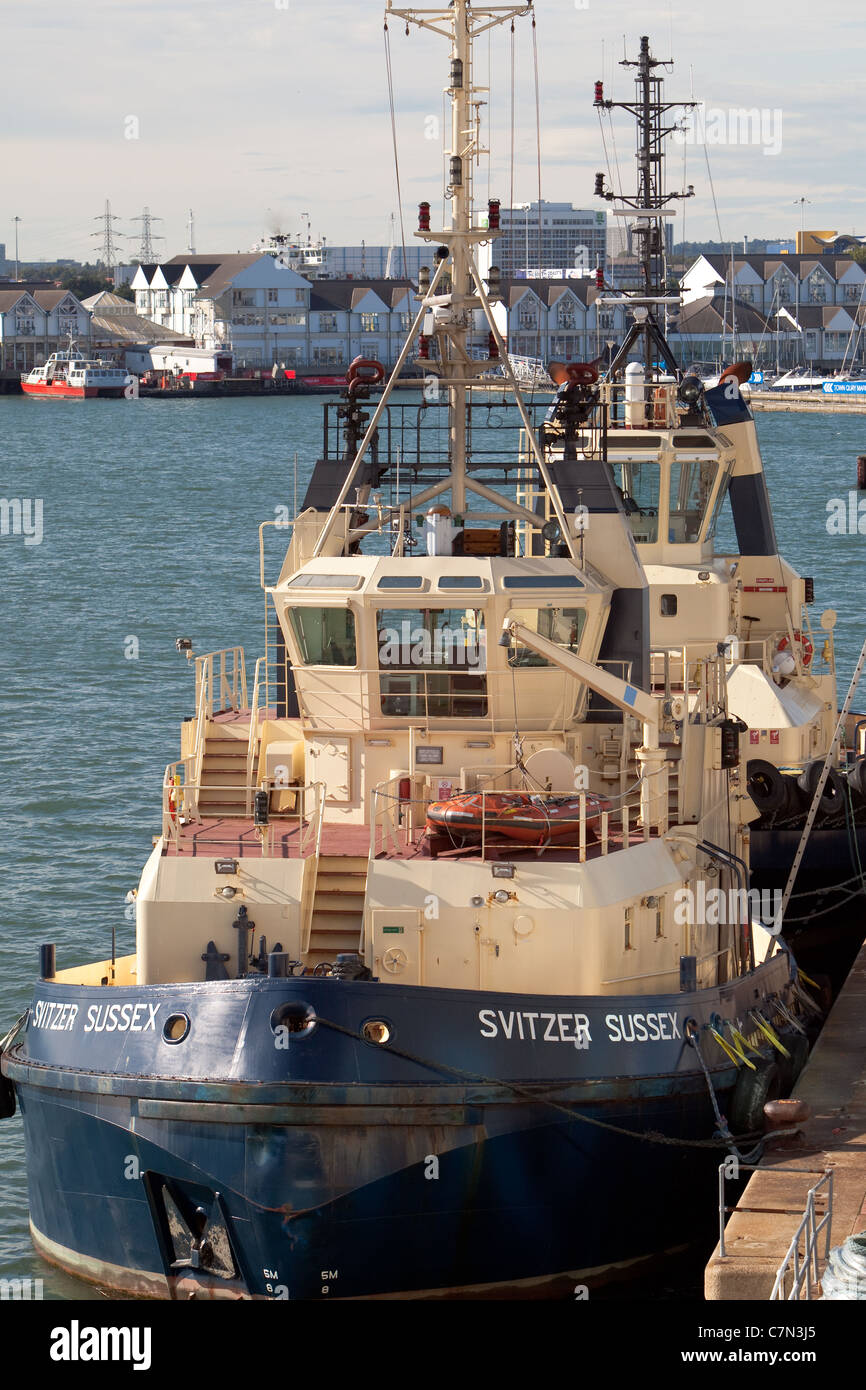Berthed tugboats at the port of Southampton England UK - Stock Image