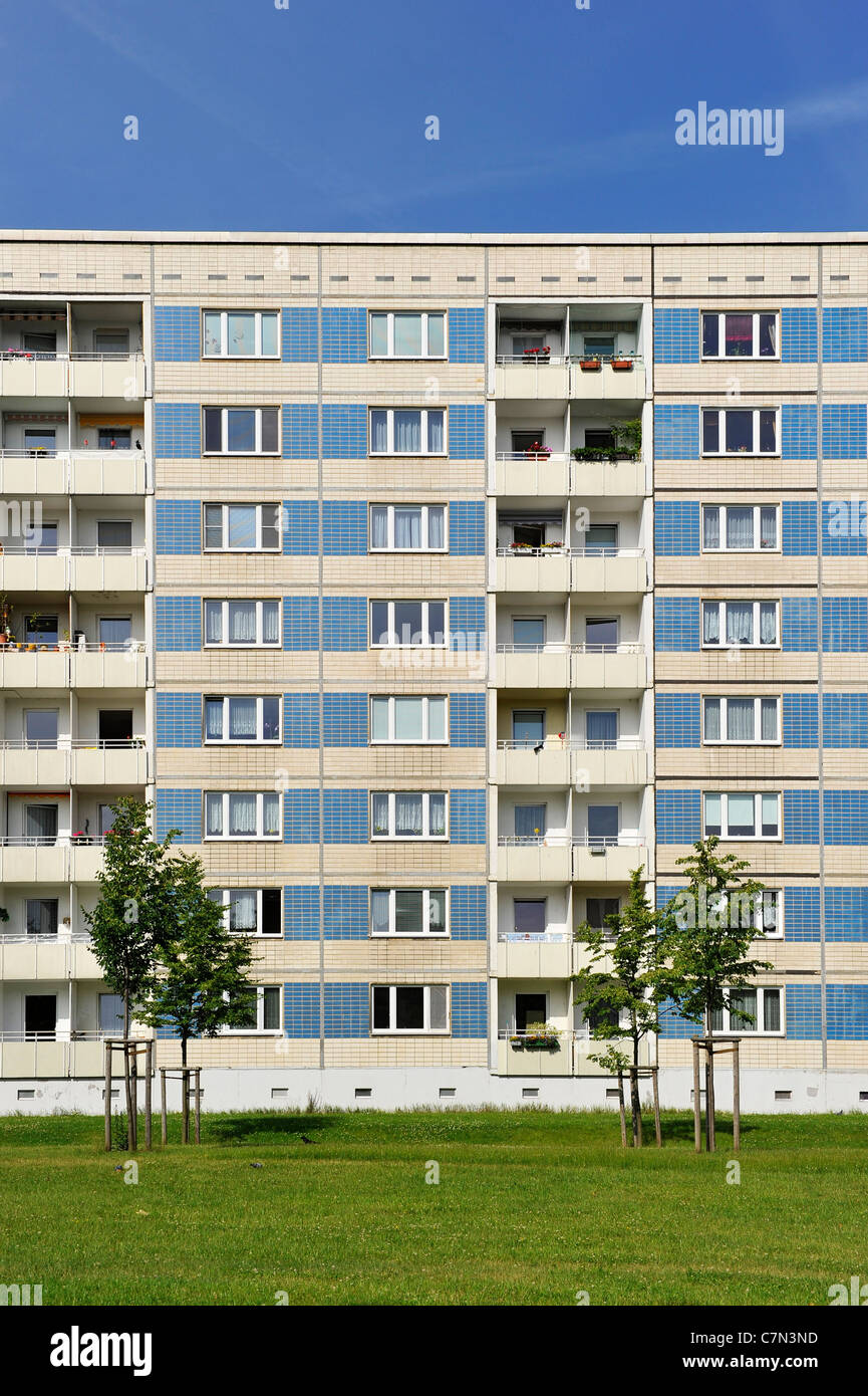 Prefabricated high-rise buildings, social housing, symmetry, housing estate, Dresden, Free State of Saxony, Germany, - Stock Image