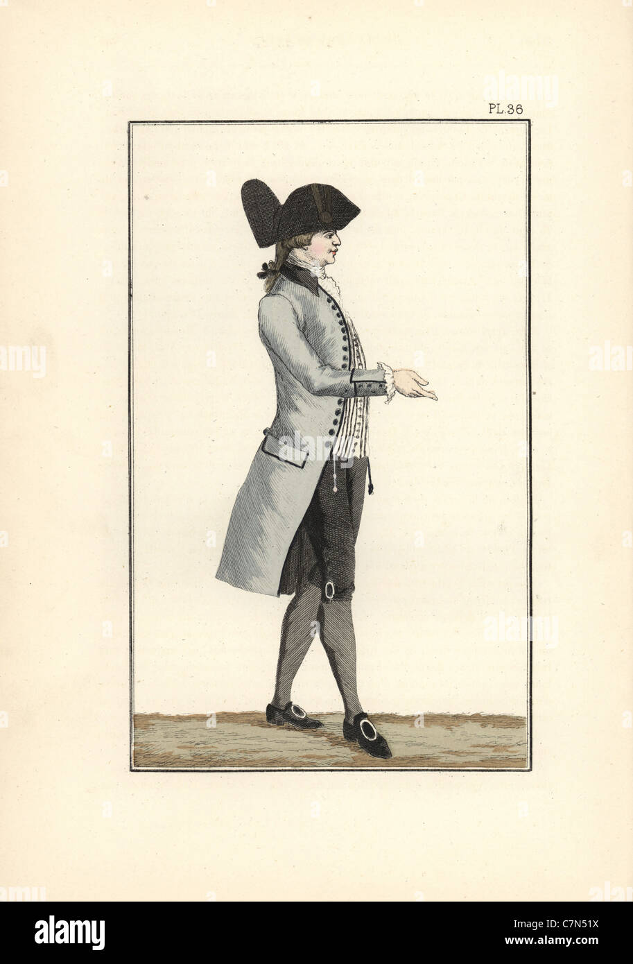 King Louis XVI in grey-white half-mourning clothes. - Stock Image