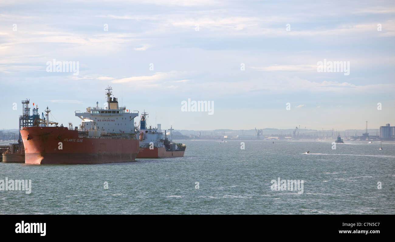 Tankers alongside Esso Fawley Berths. Southampton England UK Stock Photo