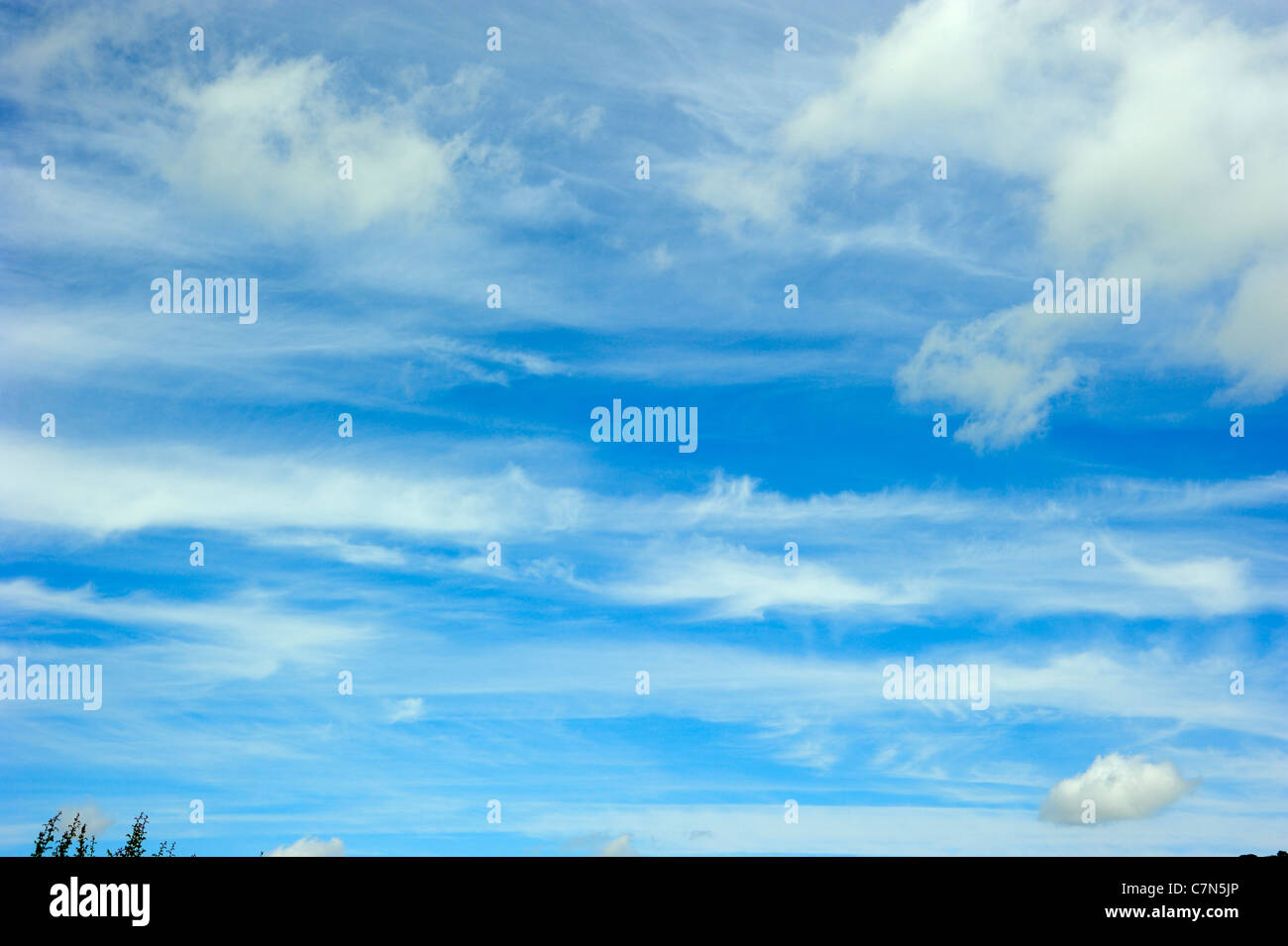 Wispy Clouds in a Summer Sky - Stock Image
