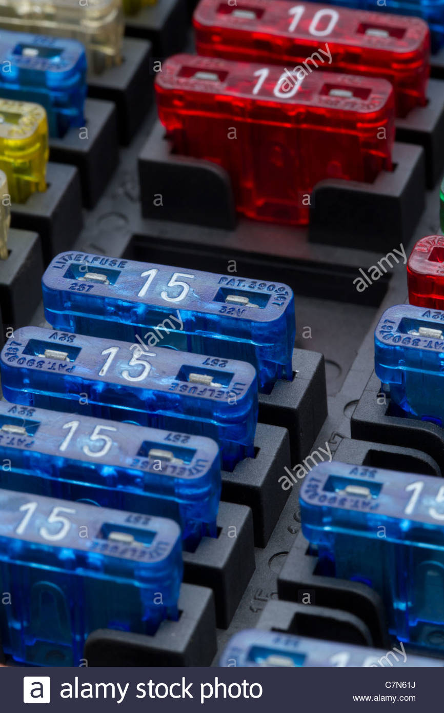 Car Fuse Stock Photos Images Alamy Automobile Box Different Regular Size Blade Type Fuses In Shallow Depth Of Field