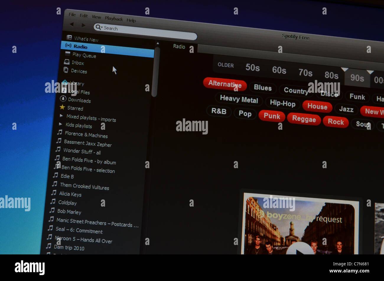 Spotify Free website screenshot page - Stock Image