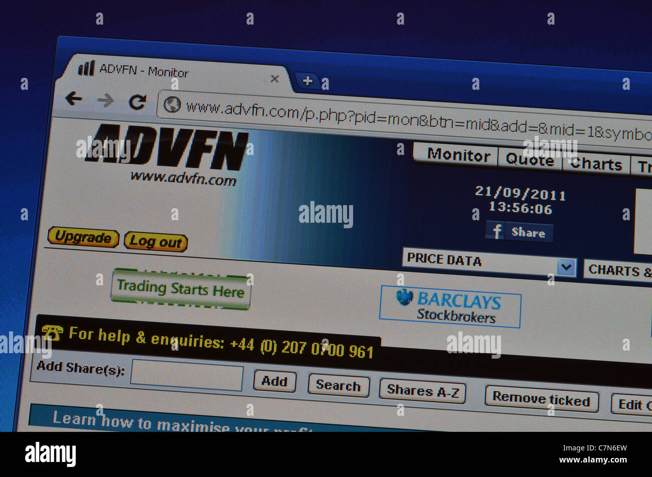 ADVFN website homepage screenshot - Stock Image