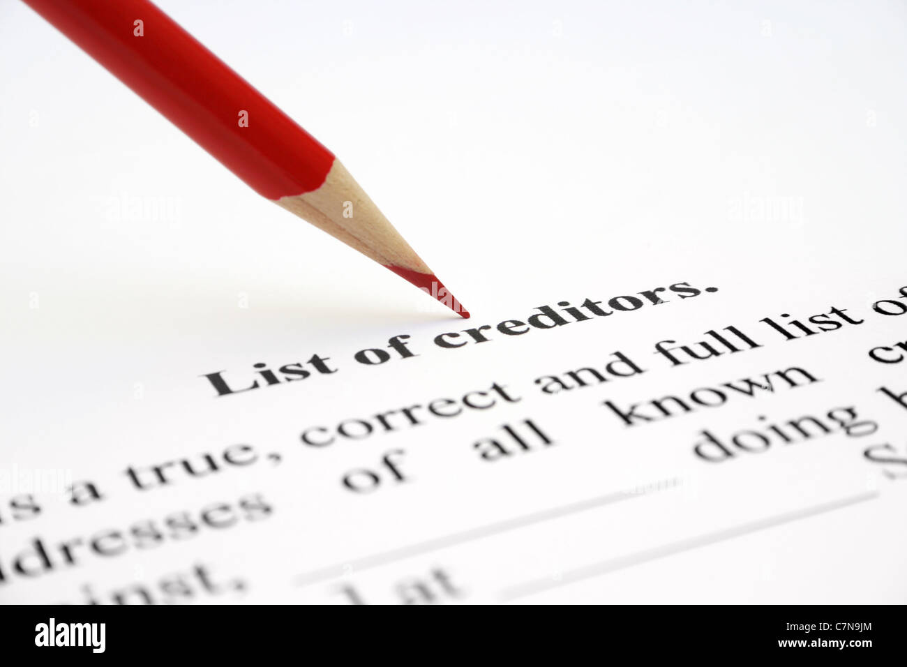 List of creditors - Stock Image