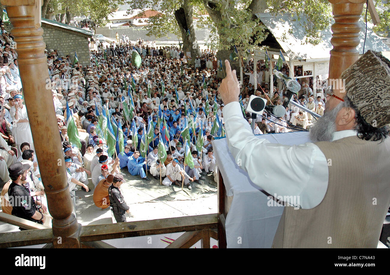 Jamat-e-Islami (JI) Ameer, Syed Munawar Hassan addresses public meeting held at Polo Ground in Chitral on Monday - Stock Image