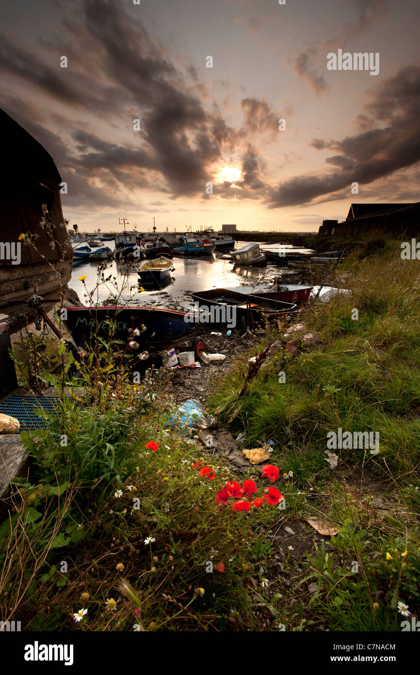 Debris Paddys Hole, South Gare, Redcar and Cleveland - Stock Image