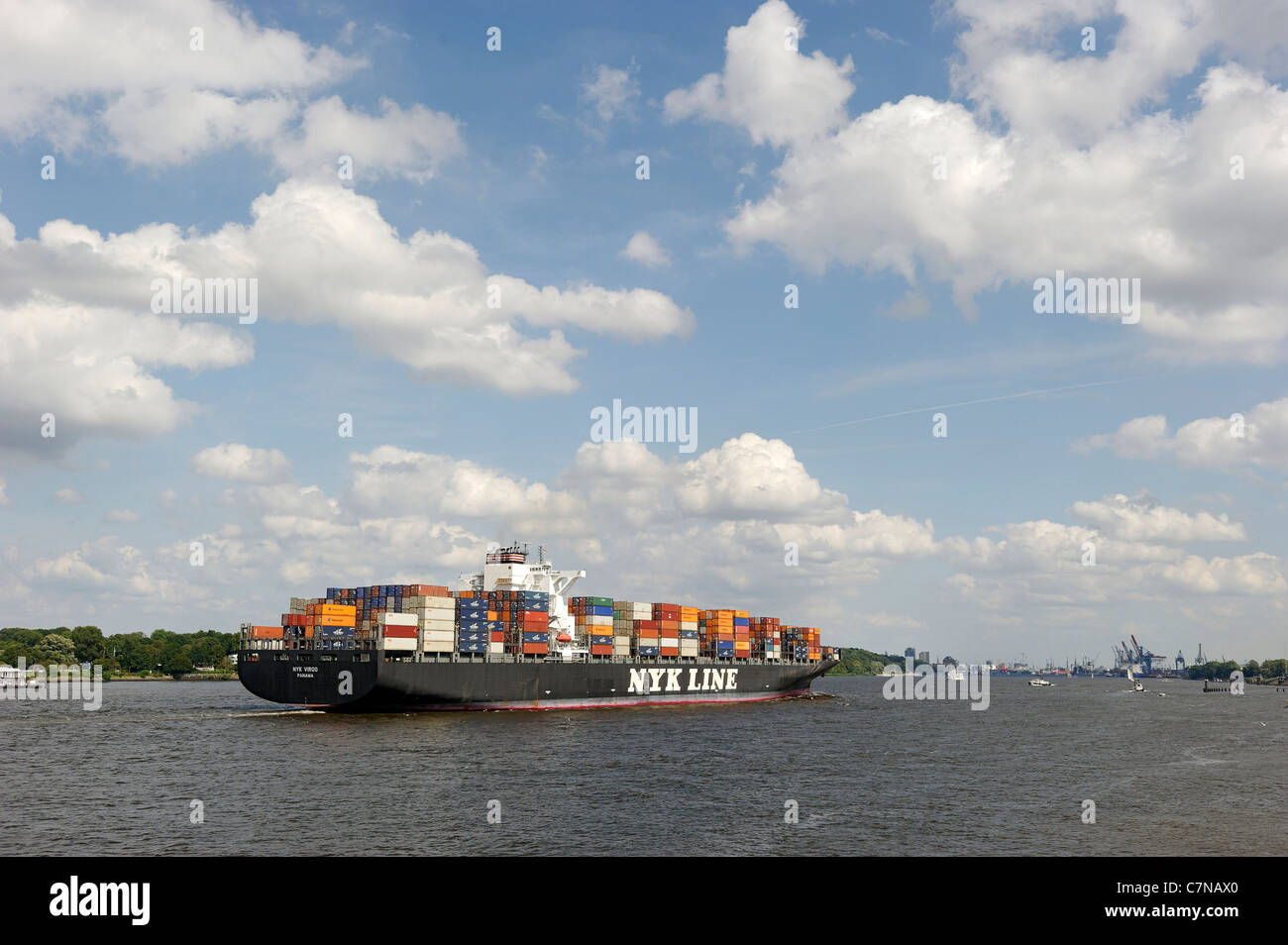 NYK VIRGO super freighter entering port, Finkenwerder, Port of Hamburg, Germany, Europe Stock Photo