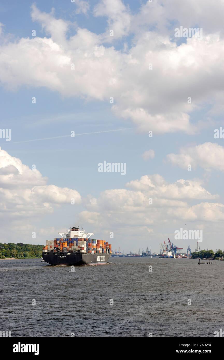 NYK VIRGO super freighter entering port, Finkenwerder, Port of Hamburg, Germany, Europe - Stock Image