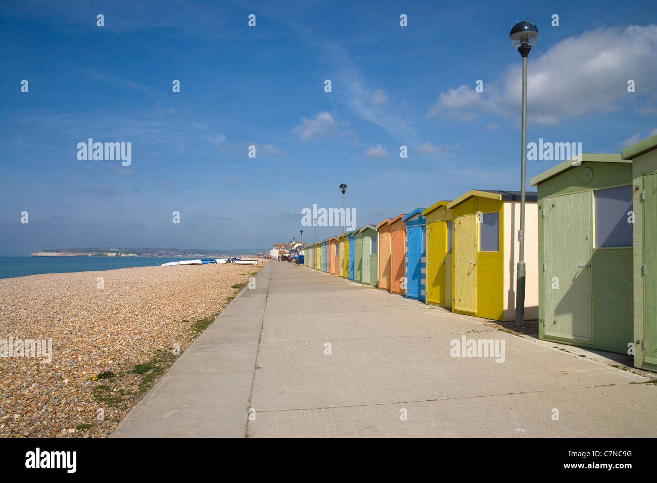 beach huts at seaford on the sussex coast Stock Photo