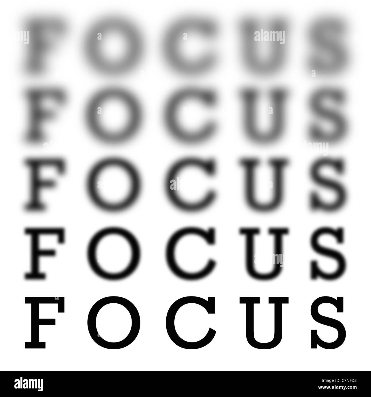 The word focus in 5 different variations of blurriness and sharpness isolated over white. Stock Photo