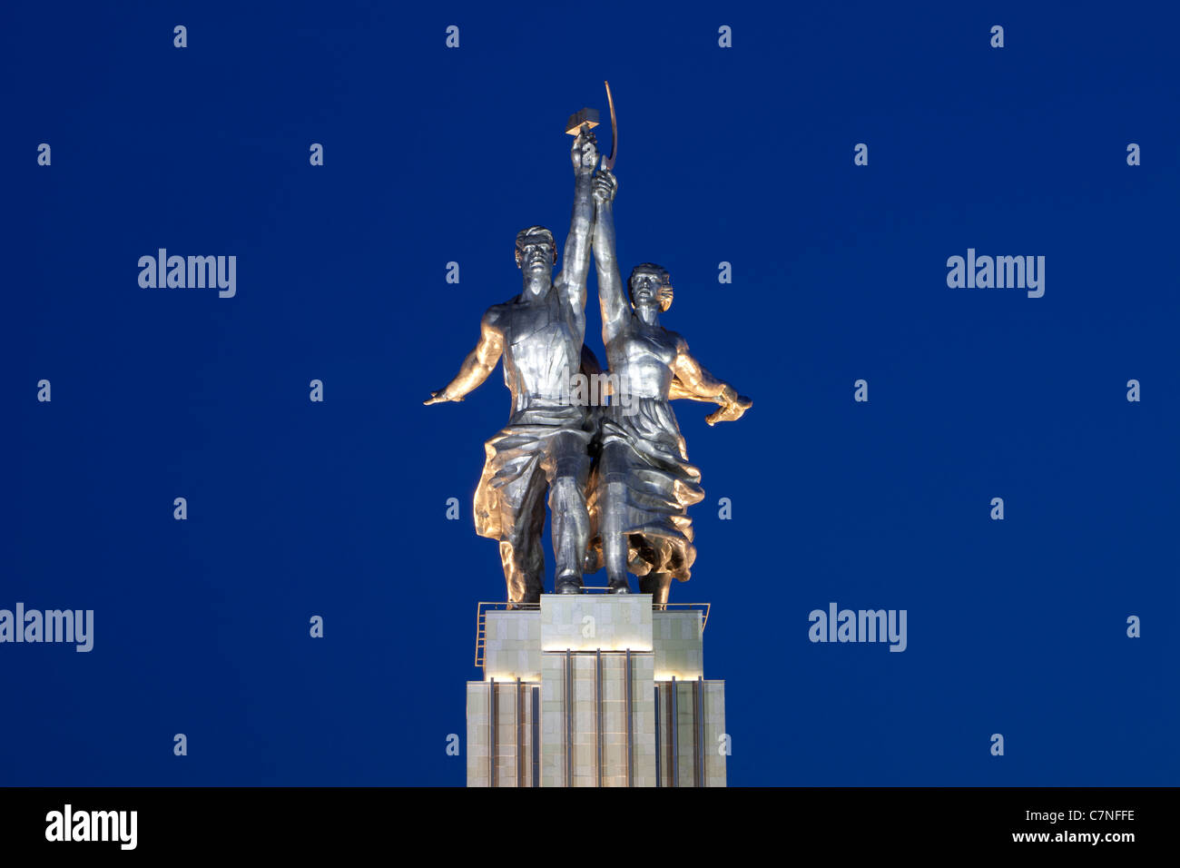 Worker and Collective Farmer monument (logo of the Mosfilm studio) in Moscow, Russia - Stock Image