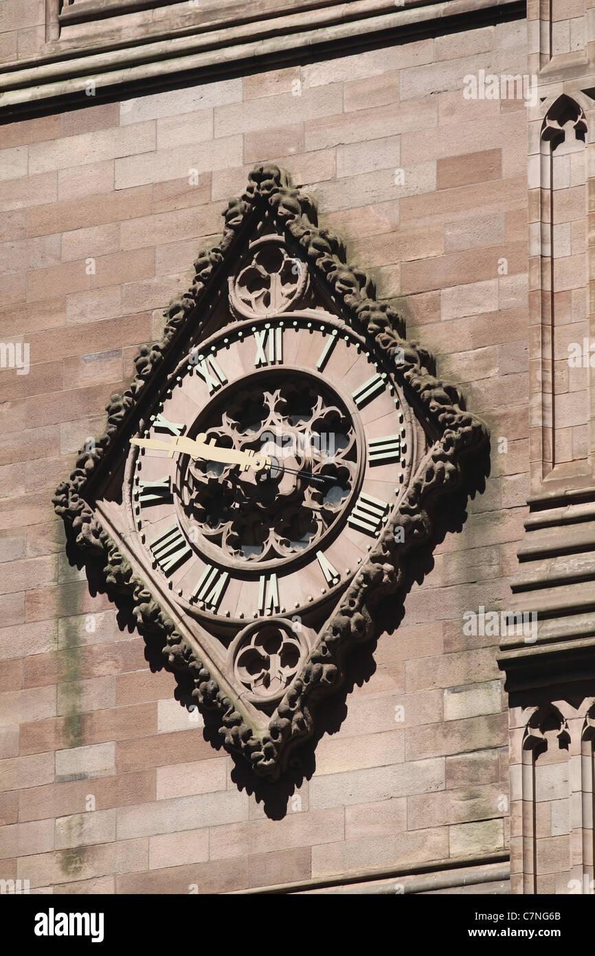 Clock on the Trinity Church in Lower Manhattan Stock Photo