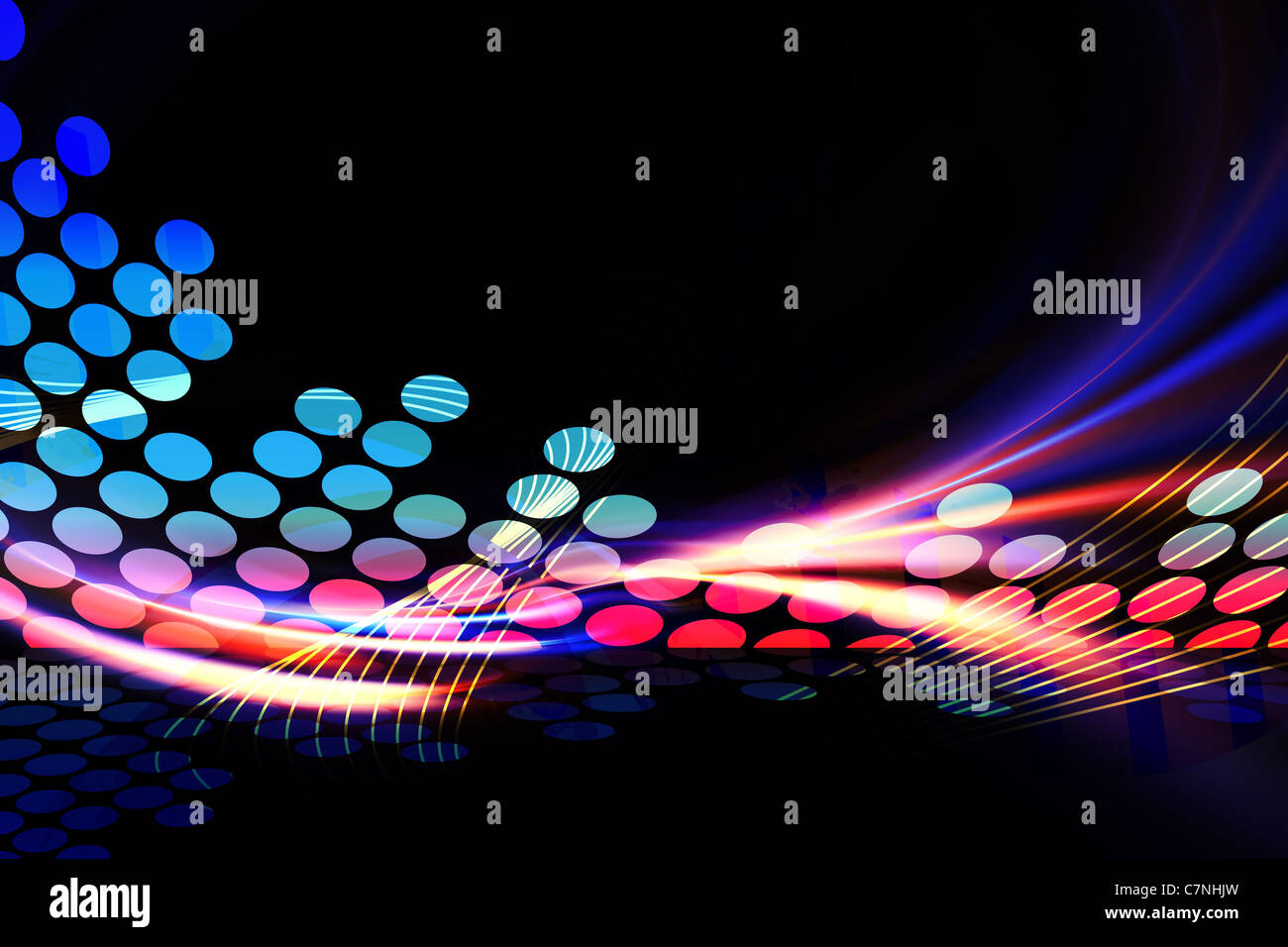 A glowing graphic digital audio equalizer illustration with rainbow fractal art accents. - Stock Image