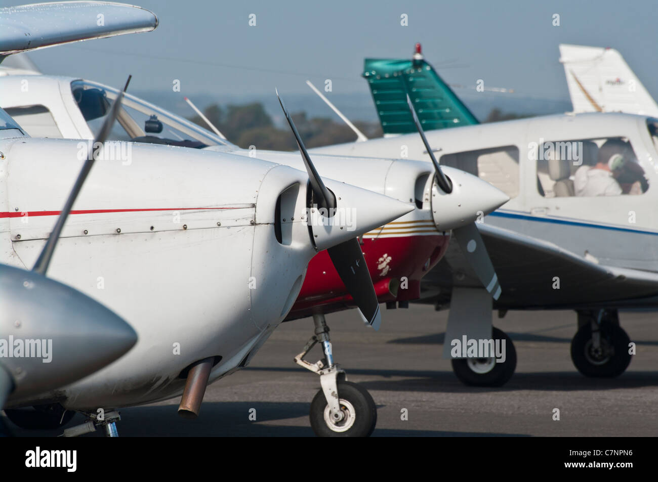 Propellers On Small Single Engine Light Aircraft Airplane Plane - Stock Image
