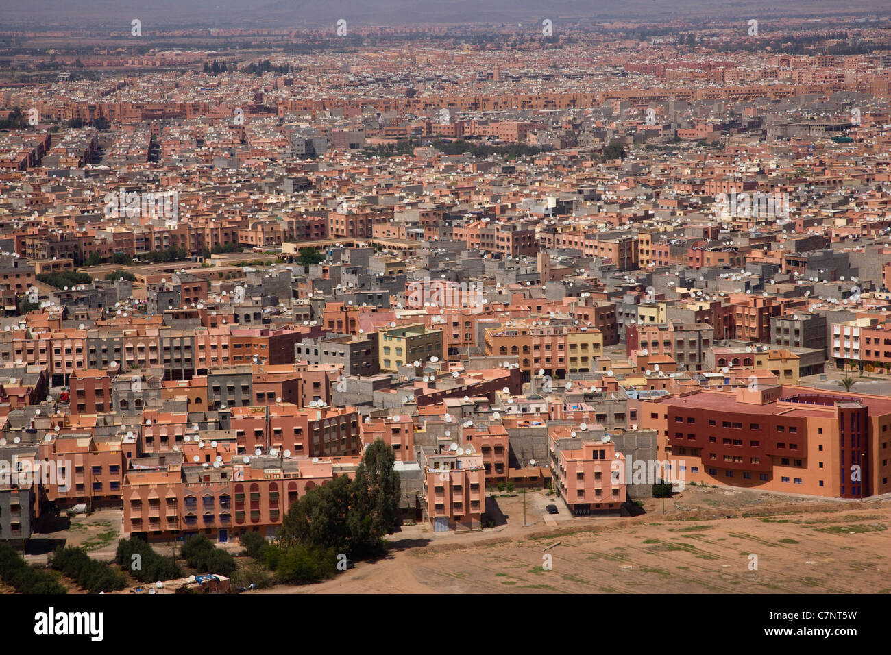 View of Marrakesh from the aeroplane window - Stock Image