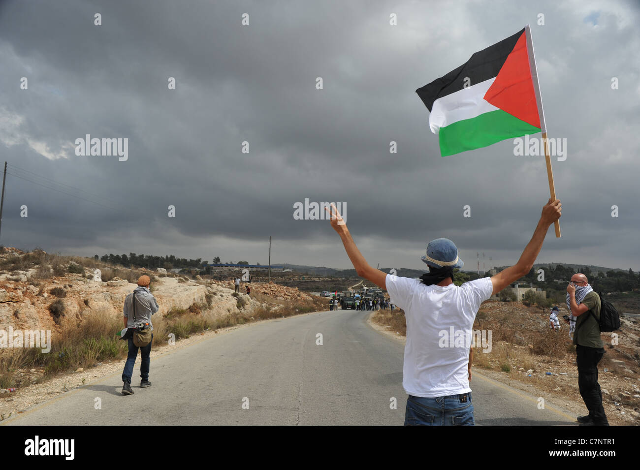 The village of NABI SALIH, September 23rd 2011, day of the request at the UN for the recognition of the Palestinian - Stock Image