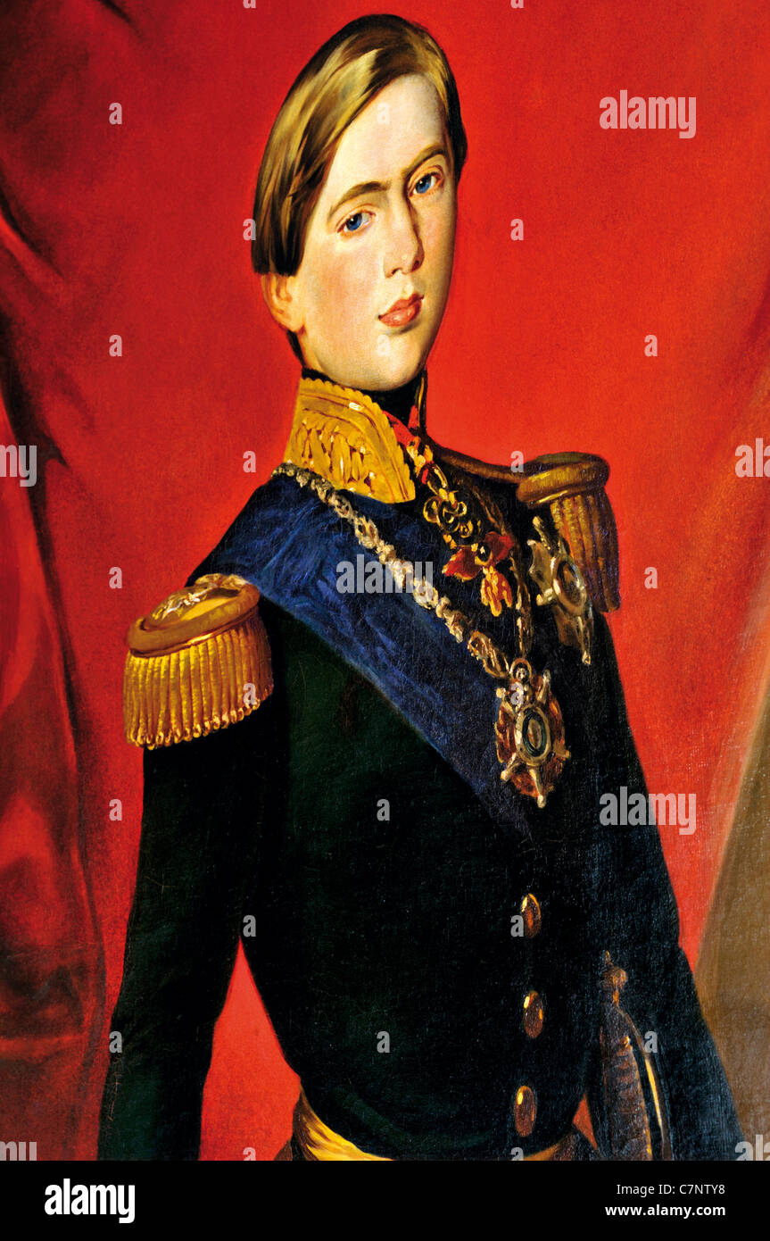 Portugal, Lisbon: Oil portrait of young king Pedro V. in the gallery of the Nacional Carriage Museum in Belém - Stock Image