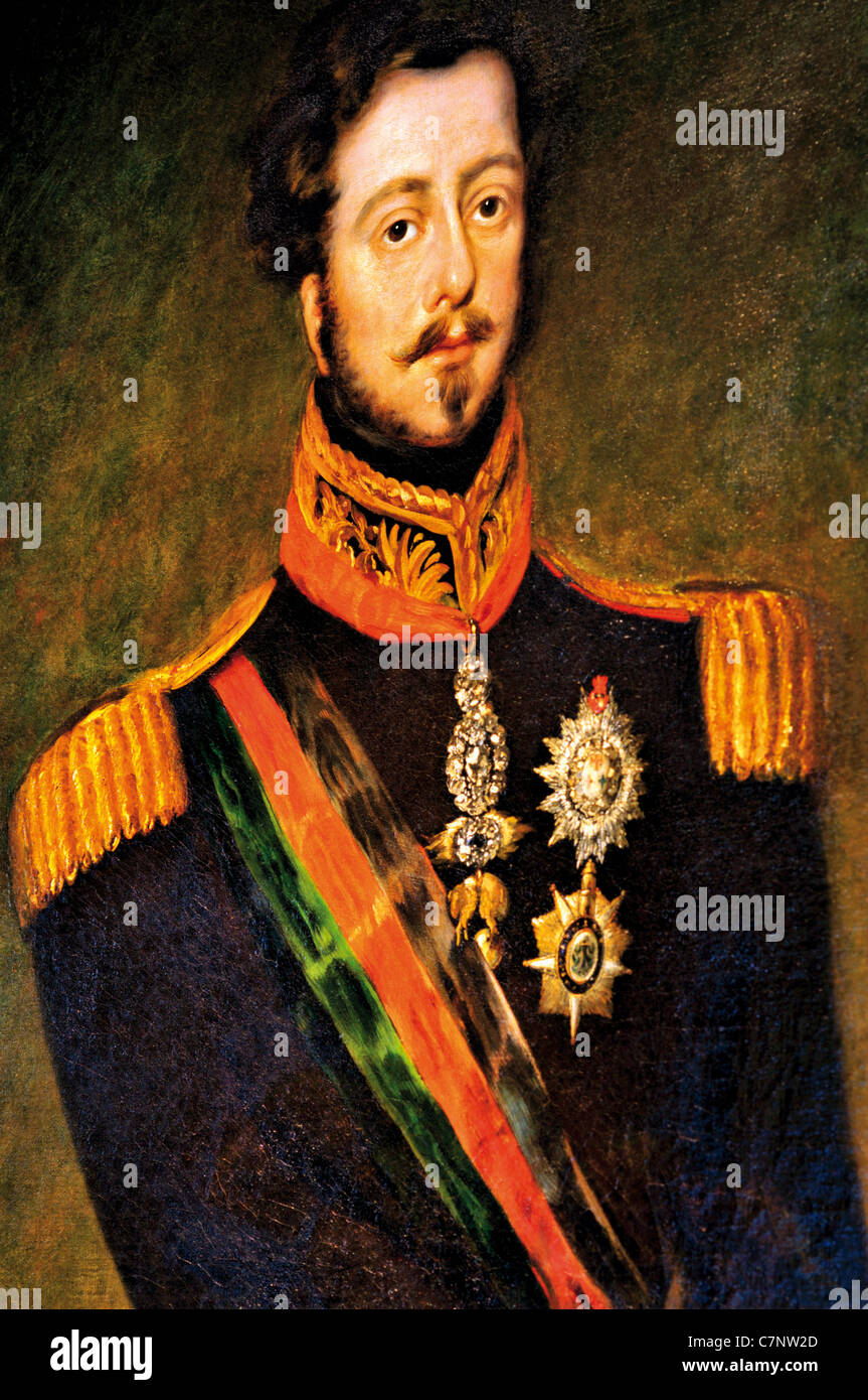 Portugal, Lisbon: Oil portrait of  king Pedro  IV.  in the gallery of the Nacional Carriage Museum in Belém - Stock Image