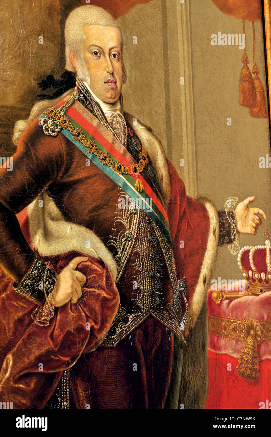 Portugal, Lisbon: Oil portrait of  king Dom Joao VI. in the gallery of the Nacional Carriage Museum in Belém - Stock Image