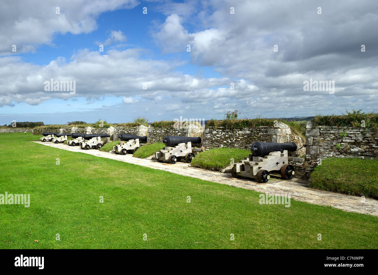 Examples of 18 century and early 19 century cannon of the Nine Gun Battery at Pendennis Castle in Cornwall - Stock Image