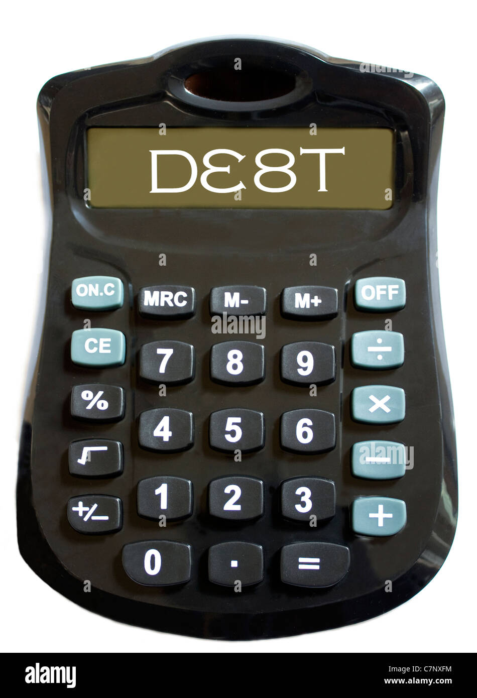 A calculator showing 'debt' on its screen, on a white backdrop - Stock Image