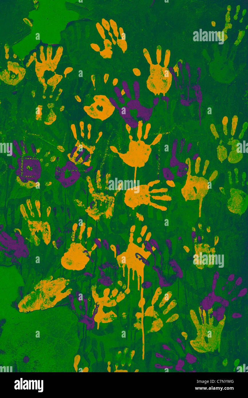 Colored handprints Stock Photo