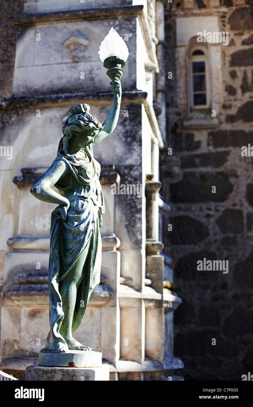 Figure and fragment of facade Palace Bussaco Stock Photo