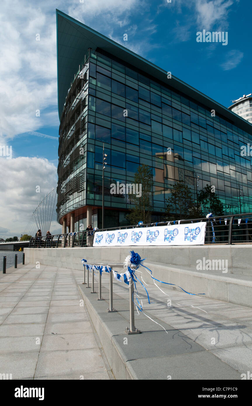 Bunting and streamers at MediaCityUK, Salford Quays, for the launch of the Blue Peter programme from the new BBC - Stock Image