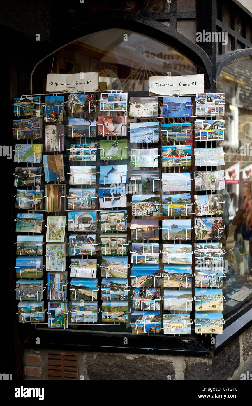 A display of postcards in St Ives in Cornwall - Stock Image