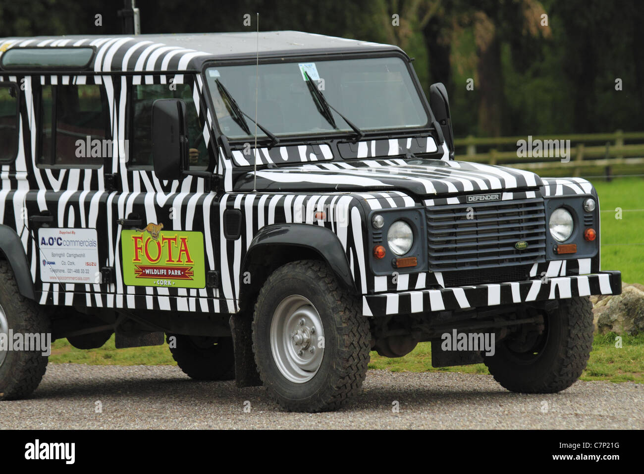 A Land Rover Safari Vehicle In Zebra Print Markings At Fota Wildlife