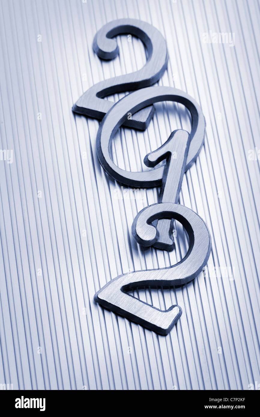 The New year 2012 in metallic letters. - Stock Image