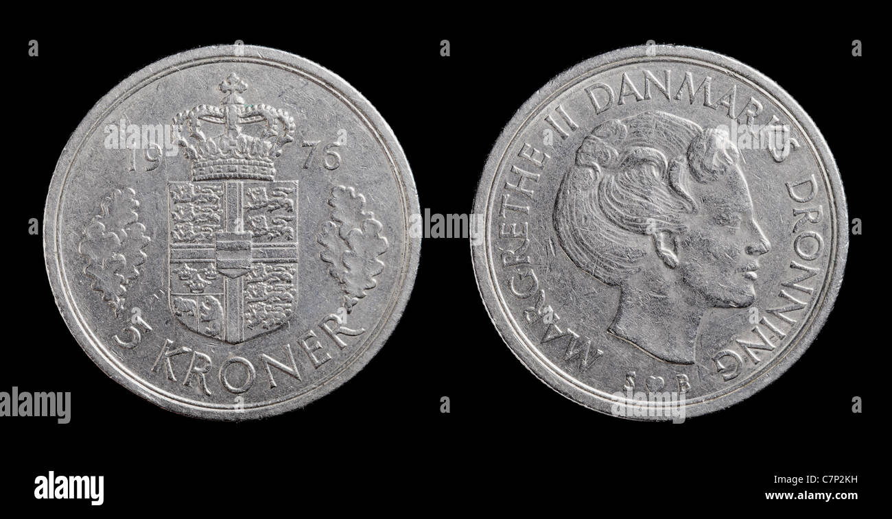 Danish 5 krone coin from 1976 isolated on black background. - Stock Image