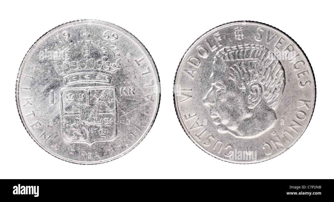 Swedish 1 Krona aka 'Crown' coin from 1969 with King Gustaf VI Adolf of Sweden. - Stock Image