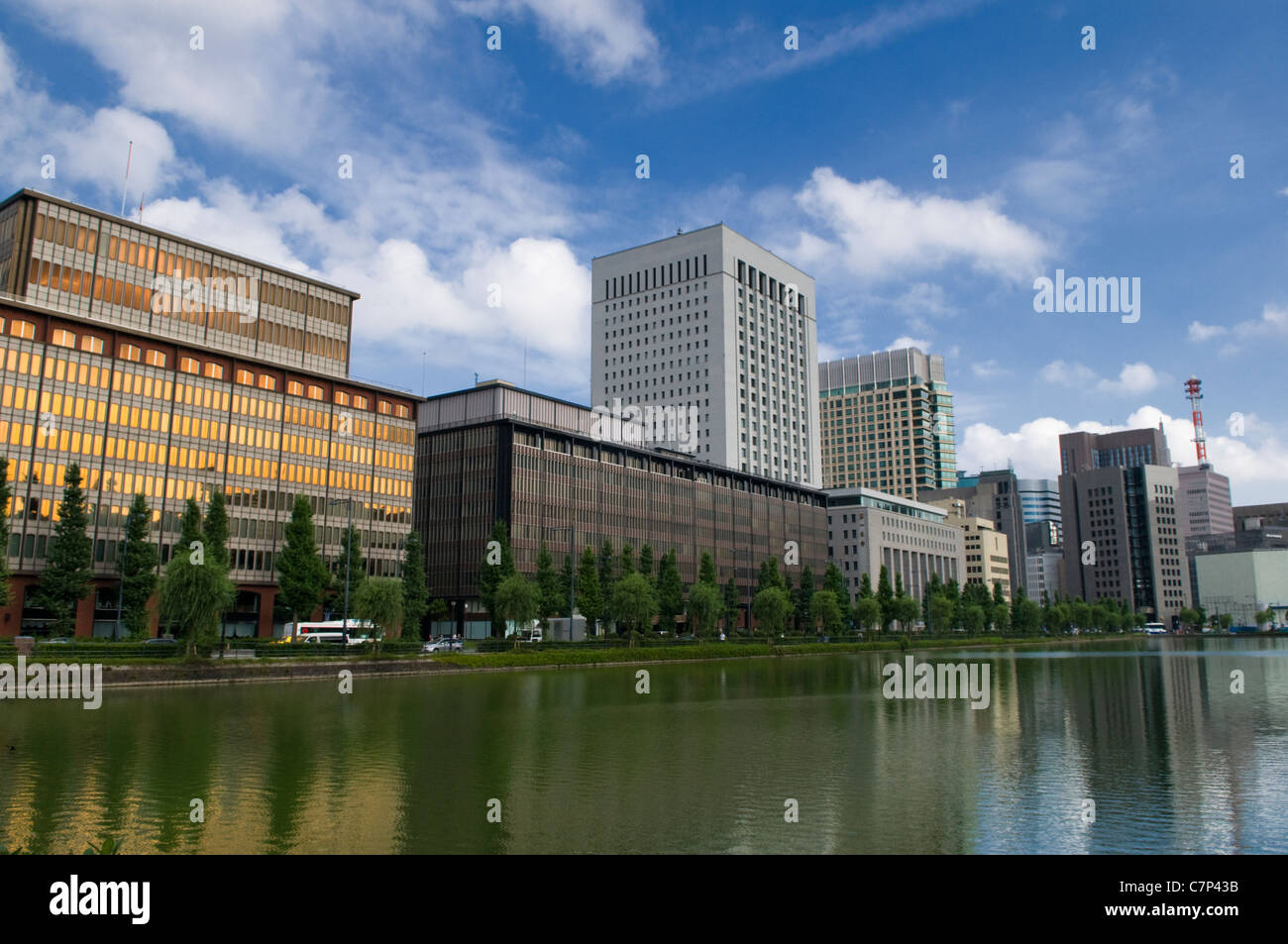 Central Business District Tokyo around the Imperial Palace Moat Japan - Stock Image