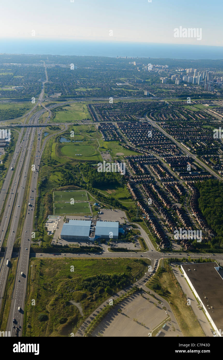 Aerial view of Mississauga Ontario on Lake Ontario with suburbs on highway 403 beside Toronto - Stock Image