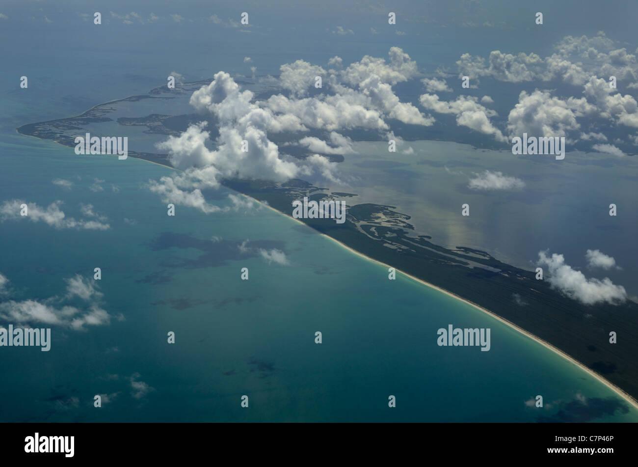 Aerial view of Cumulus clouds over Paso Xolul park in Yucatan Peninsula Quintana Roo Mexico Dzilam-Ria Lagartos - Stock Image