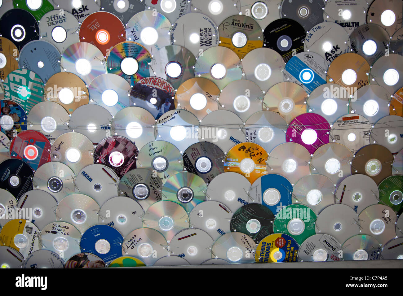 Art Work Made of Old CDs - Stock Image