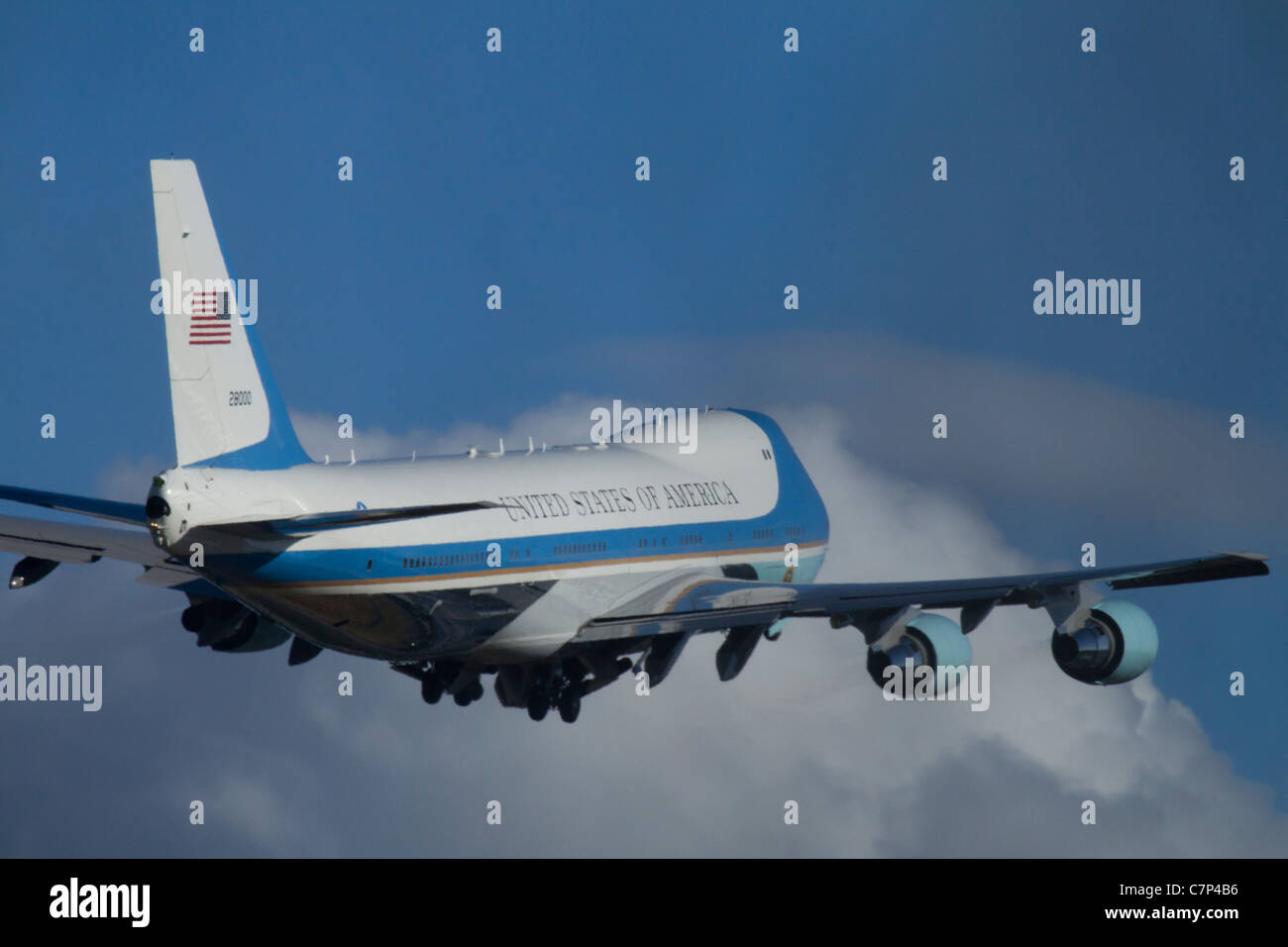 President Obama Departs from King County Airport/Boeing Field, Seattle, Washington on Air Force One, September 25, - Stock Image