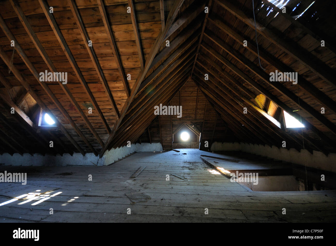 Inside of an old abandoned farm house in the middle of a