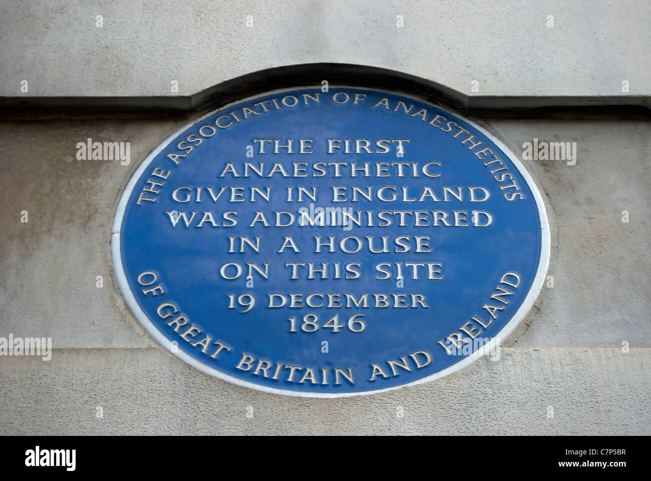 blue plaque marking the 1846 site of the first anaesthetic given in england, gower street,  london - Stock Image