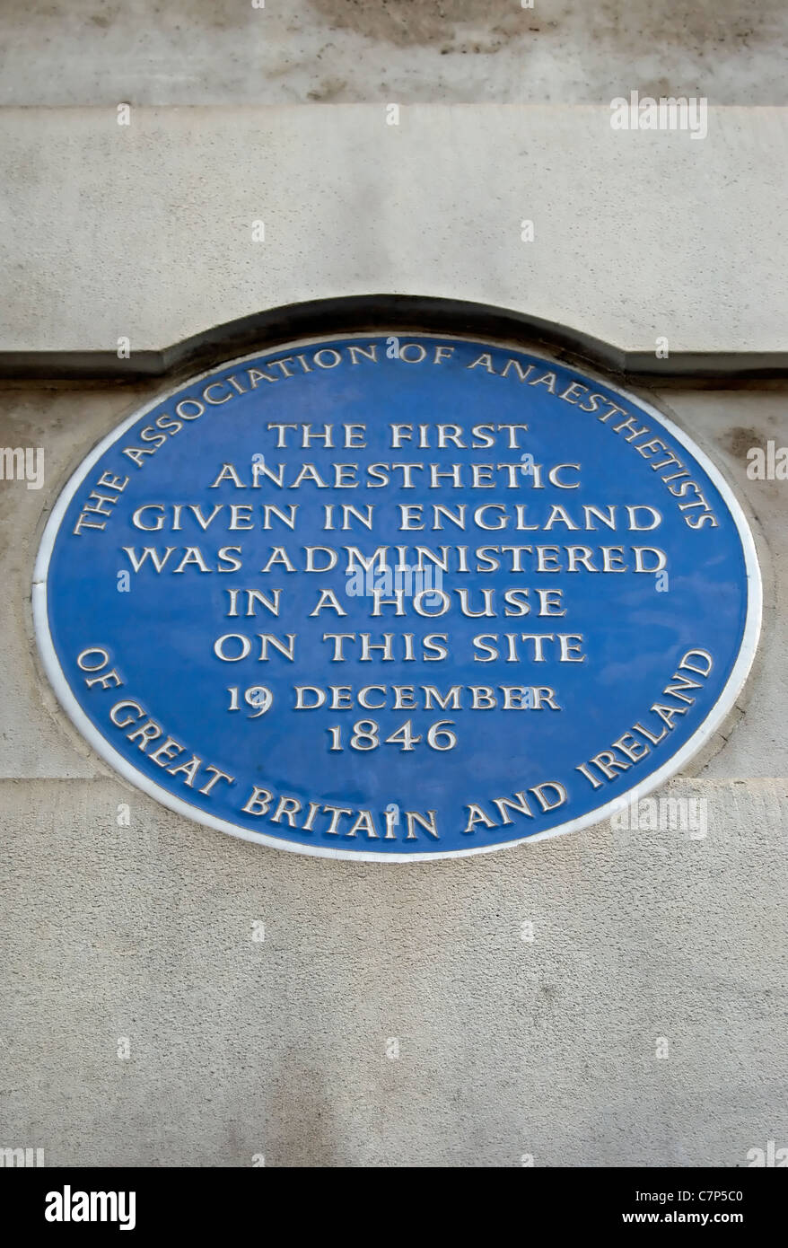 blue plaque marking the 1846 site of the first anaesthetic given in england, gower street,  london Stock Photo
