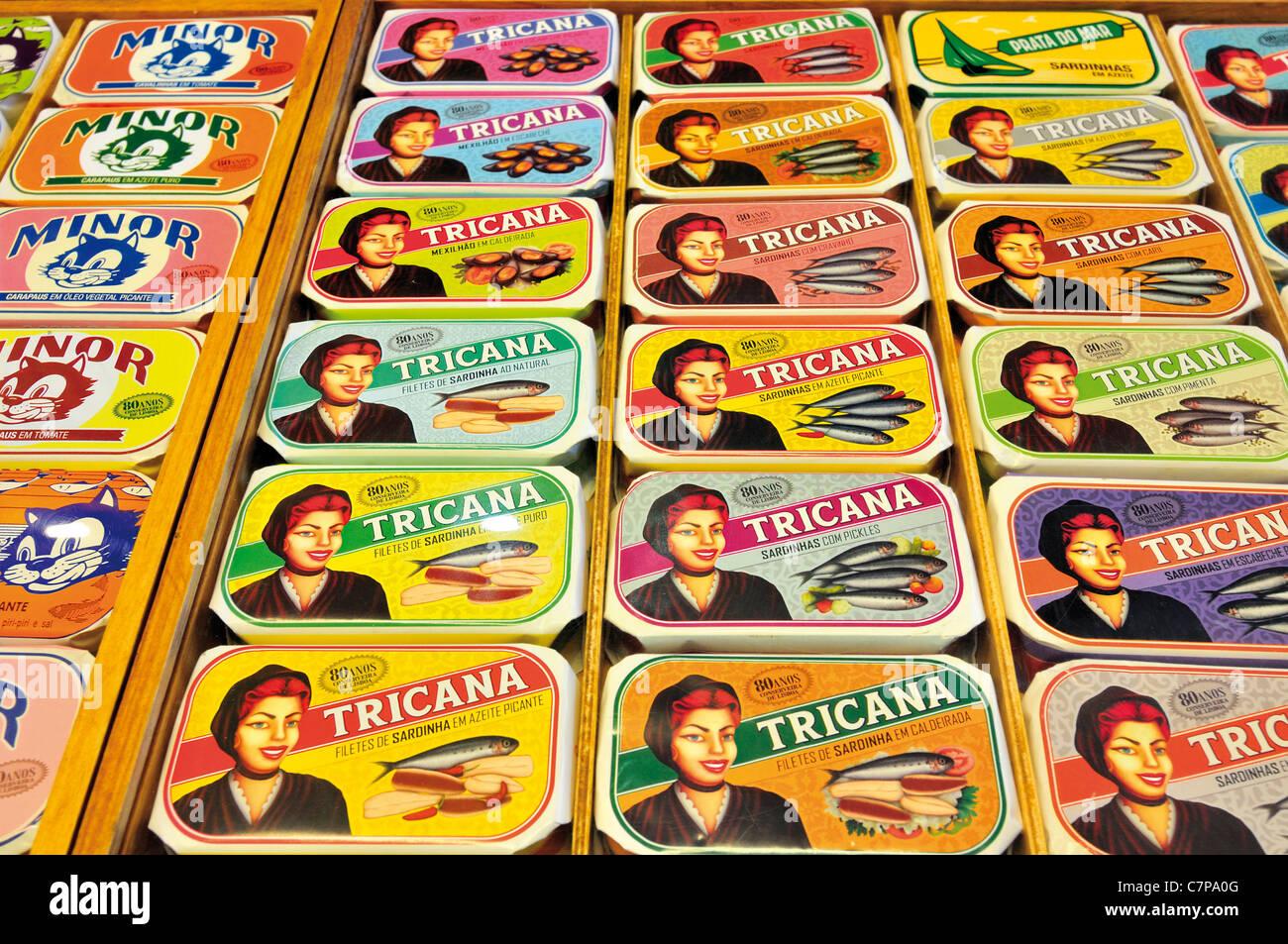 Portugal, Lisbon: Traditional sardine and tuna conserves in the Conserveria de Lisboa - Stock Image
