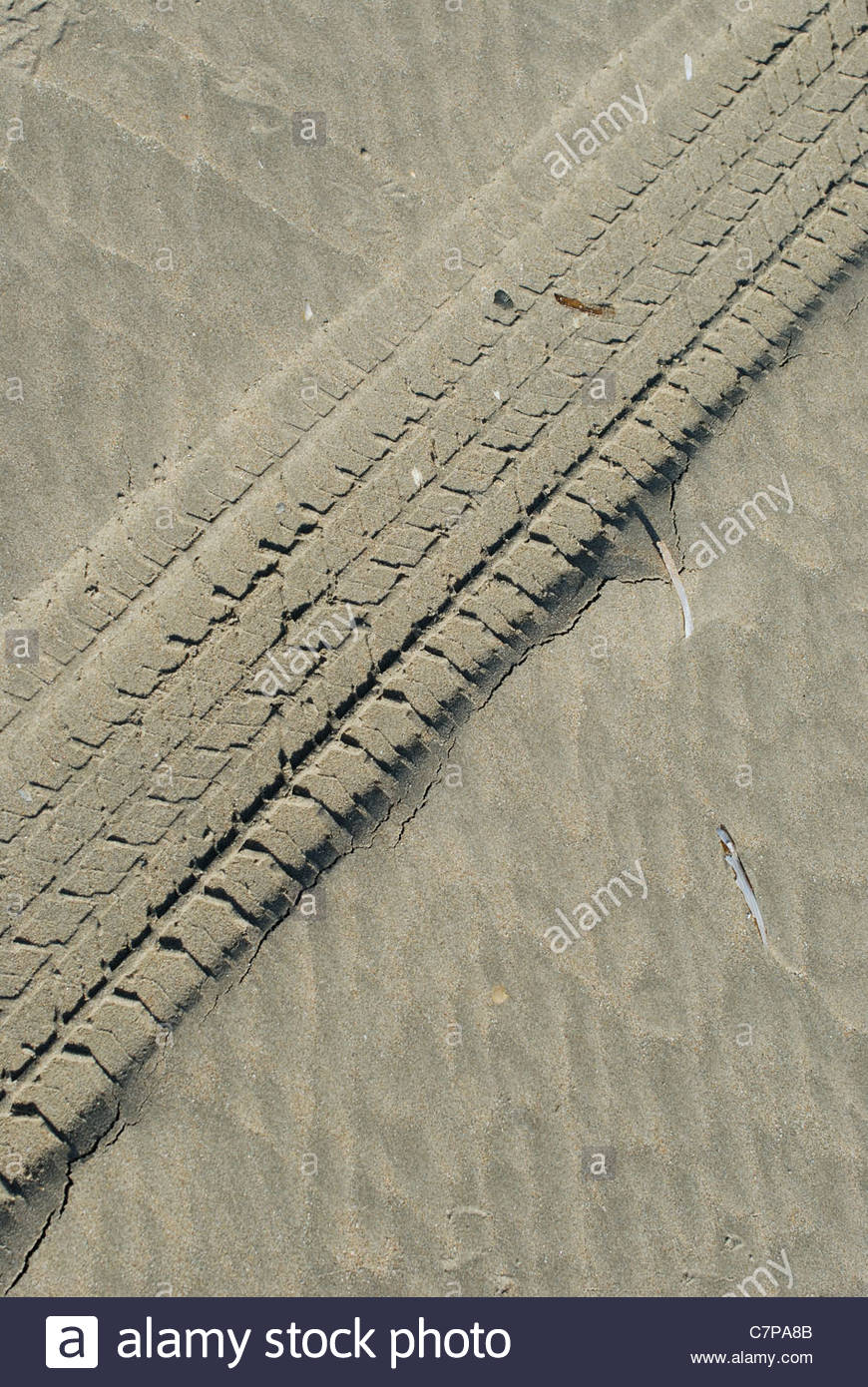 Ijmuiden The Netherlands Ijmuiden strand (beach) tyre tracks in the sand. - Stock Image