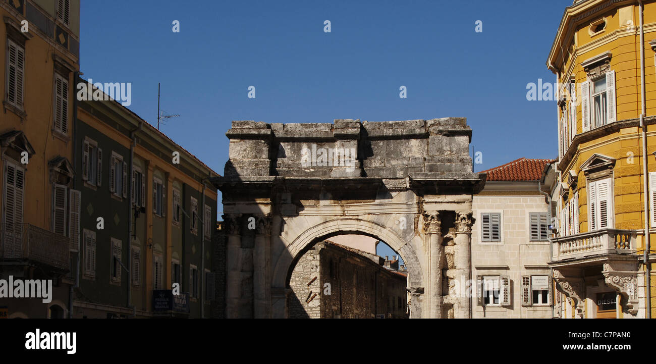 Croatia. Pula. Triumphal Arch of the Sergii. 1st century BC. - Stock Image