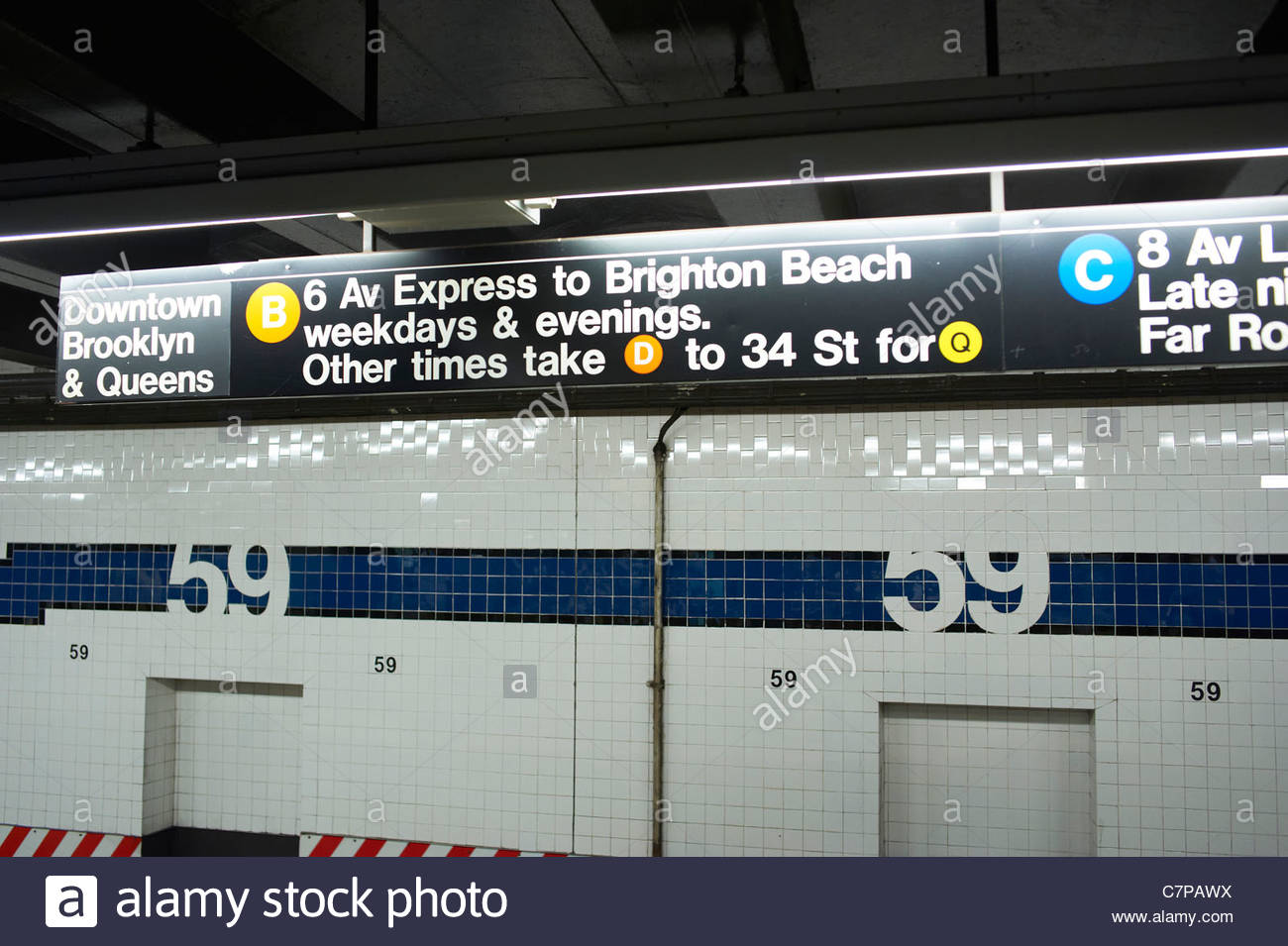 59TH STREET Platform In A Subway Station Manhattan New York