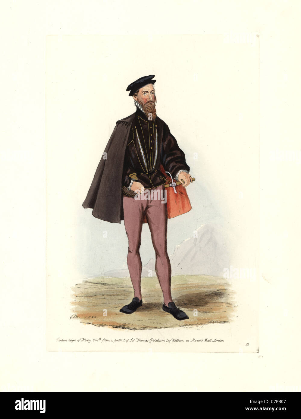 Male costume of the reign of Henry VIII, from a portrait of Sir Thomas Gresham by Holbein in Mercers Hall, London. - Stock Image