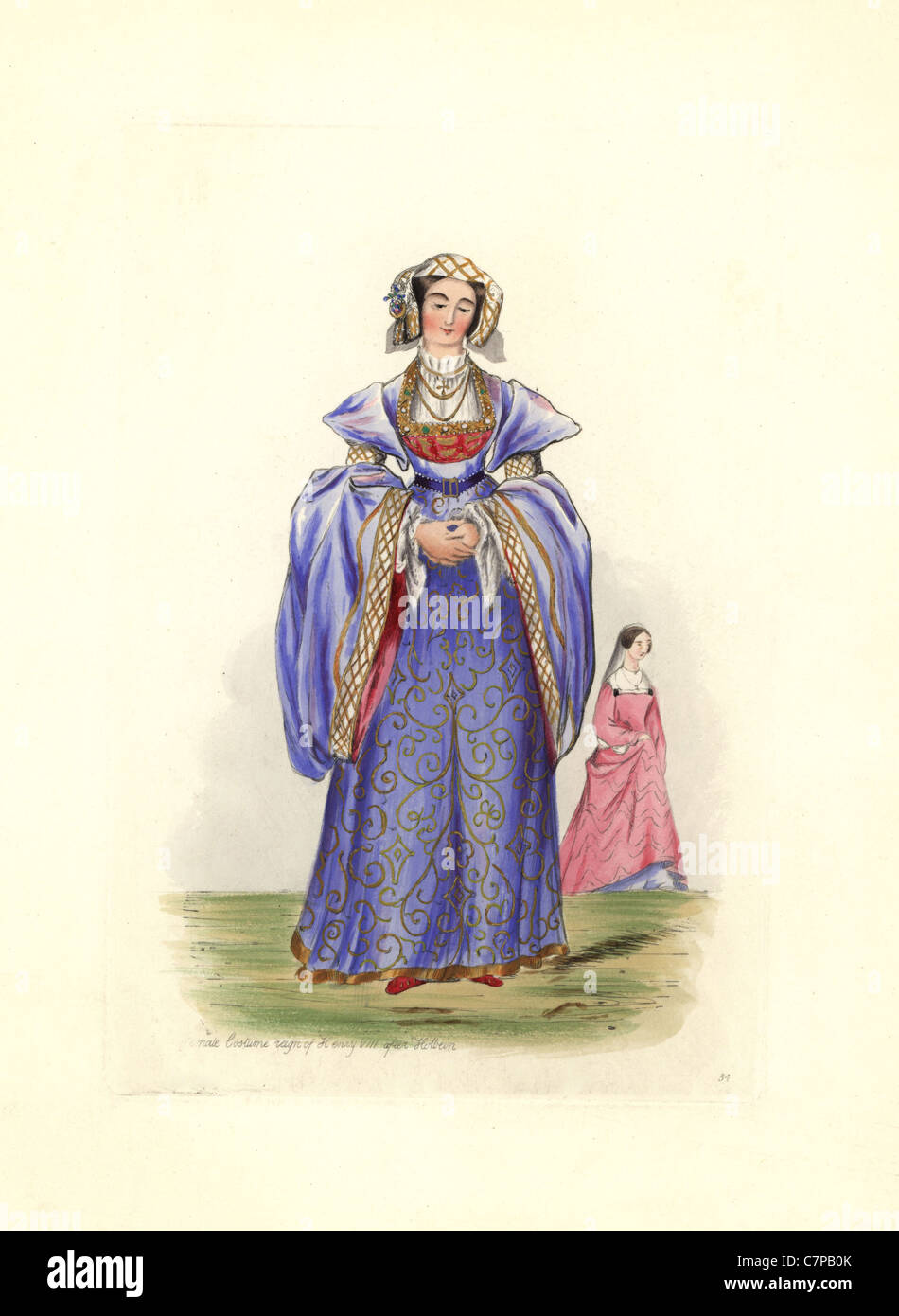 Female costume in the reign of Henry VIII after Holbein. - Stock Image